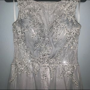 Silver Prom Formal Dress